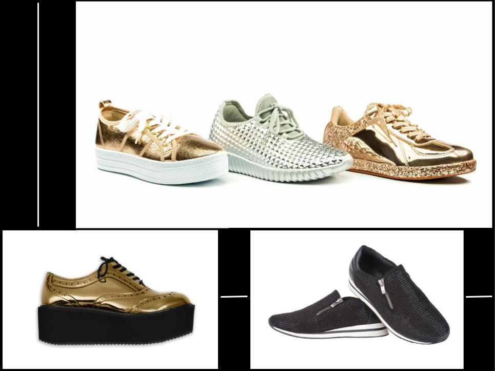 Damen Sneaker: Mit Glitzer, Gold und Strass im Design Himmel